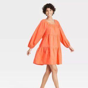 Women's Puff Long Sleeve Tiered Dress